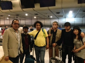 Mindy with other poets at airport